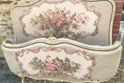 WONDERFUL VINTAGE FRENCH LOUIS XV STYLE DEMI-CORBEILLE DOUBLE BED