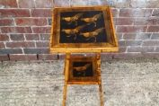 English 19th century bamboo table chickens decoupage on black