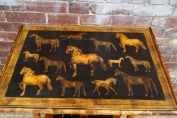 English 19th century table with horses decoupage