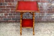 English 19th century bamboo table with red leather