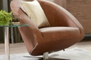 Cross base leather armchair
