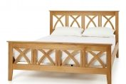 Oak Wooden Bed Frame with Decorative Headboard