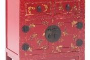 Chinoiserie Red Lacquer Hand Painted Bedside Cabinet