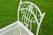 Antique Ivory White Metal and Iron Garden Bench Stool ~ Vintage Style