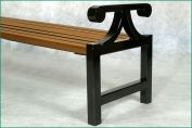FSC timber and galvanised steel bench with arms