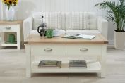 SOMERSET OAK AND CREAM COFFEE TABLE