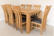 1.8m Cambridge Oak Table & 8 Churchill Brown Leather Dining Chairs