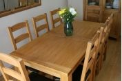 Oak Dining Set - Tallinn 1.6m - 2.0m Table & 6 Charlton Brown Leather Chairs