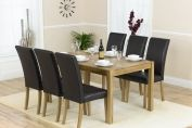 OXFORD SOLID OAK 150CM DINING TABLE WITH 6 BROWN FAUX LEATHER CHAIRS
