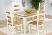 ETON 120CM SOLID ASH AND PINE KITCHEN TABLE WITH 4 CHAIRS