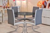 Black Luna Dining Set and Four Dining Chairs