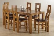 Quintoch Rustic Solid Oak 6ft Dining Table with 6 Wave Back and Brown Leather Chairs