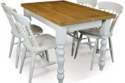 Classic farmhouse dining table and chairs finished in our milkwood finish