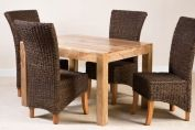 Erlina Rattan 4-Seater Light Mango Dining Set