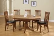 Chateau Round Ext. Oak Dining Table-115cm Closed - 165cm Open