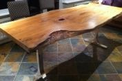 Yew table on chrome legs