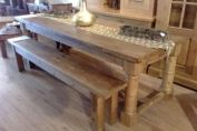 Solid wood dining table & bench