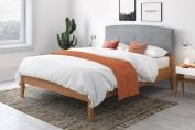 Yasmin Wooden Bed Frame with Buttoned Headboard Pad