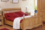 Bordeaux Oak Sleigh Bed, high footboard 4'6'' standard double