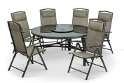 Monaco 6 Seat Dining Set (150cm Round 3 Legged Table & 6 Chairs & 2.75m Parasol) - Brown