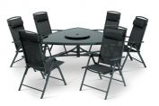 Valencia 6 Seat Dining Set (160 x 155cm Triangular Table & 6 Chairs) & 3.0m Burgundy Parasol