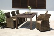 Regency Six Seater Set - Fixed Leg FSC® Eucalyptus Table 220 x 100cm With Lazy Susan In Brown Duraseal® Finish with Six Regency