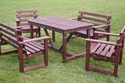 Garden table and chair set in mahogany finish