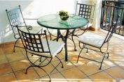 Castrum Four-Seater Setwith Round Fused Glass Table