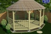 Ashanti 5.4m African Thatched Decked Oval Gazebo