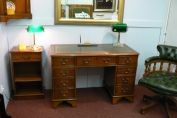 "4ft x 2ft desk in yew and 18"" open bookcase, Captains chair"