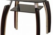 Elena Clear and Black Glass Lamp Table