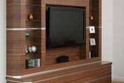 Walnut/stainless steel media centre