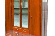 Rosewood Wardrobe with mirror doors and drawers - French style
