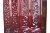 Chinese Dragon Carved Double wardrobe Set