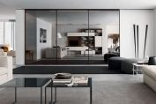 Mirror, glass and gloss sliding doors.