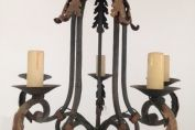 SUPERB FRENCH ANTIQUE 4 BRANCH PAINTED IRON CHANDELIER