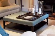 Bespoke ottoman with wooden shelf