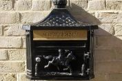 BLACK Vintage Style Cast Aluminium Letter Box Mail Box Wall Mounted