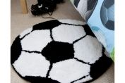 Football Bedroom Rug, Black & White
