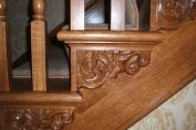 Stairs in oak, with scroll detail